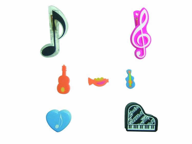 分音符造型夹、高音谱号造型夹、钢琴造型橡皮擦、心型橡皮擦、可爱