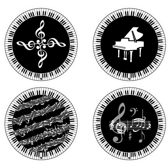 杯子餐具系列 > 产品内容介绍 >  gf709 eva键盘音符造型圆形杯垫(一